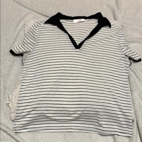 Wet Seal Tops - Never worn white &black stripe Niki & Gabi V neck